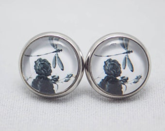 Glass Cabochon Earrings – Black And White Dragonfly With Roses - Silver Setting - One Pair