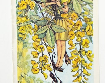 Laburnum Fairy, Flower Fairies Picture, Cicely Mary Barker Print, Nursery Art, Fairy picture