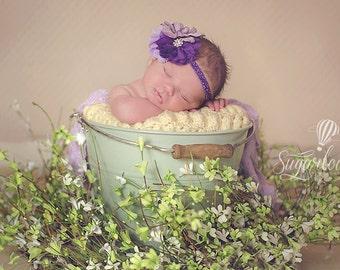 Flower Girl Headband, Lavender and Purple with Rhinestones