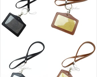Durable Leather Necklace Lanyard with Vertical / Horizontal ID badge Lanyard Holder