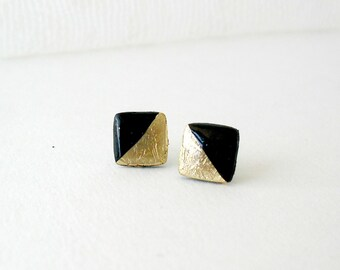 Black and gold square post earrings- Elegant stud earrings
