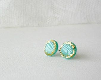Mint grecian post earrings- Gold leaf jewelry- Elegant stud earrings- Summer style- Delicate jewellery