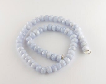 Strand of Faceted Blue Lace Agate Rondelle Beads