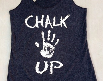 Chalk Up triblend racerback tank. Women's Workout Tank.Cross Training Tank Top. Exercise Tank Top. Running Tank. Fitness Tank Top