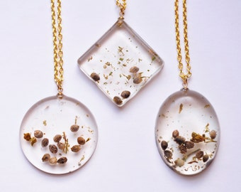 Real Marijuana Necklace seeds and Stems, pot weed seed mary jane pendant gold chain marijuana jewelry cannabis seeds