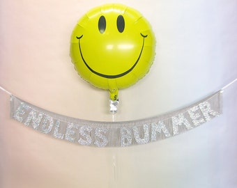 Endless Bummer Glittering Fringe Banner | garland, wall hanging, party decor, home decor, funny banner sign,