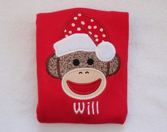 Personalized Christmas Sock Monkey Shirt - Monogrammed Sock Monkey Christmas Shirt