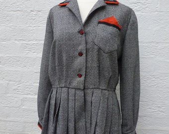 Womens jacket wool clothing 1960s altered vintage upcycled peplum jacket 60s womens clothing recycled vintage eco-friendly London ladieswear