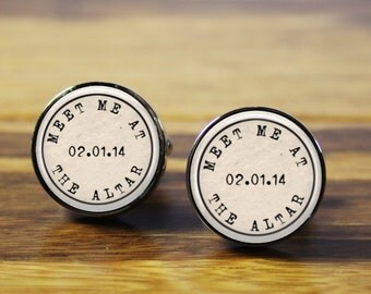 Meet Me At the Altar ~ Personalized wedding cufflinks - A personalised gift for the Groom on your wedding day (stainless steel cufflinks)
