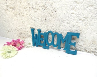 Welcome Sign/Cast Iron Decor/Metal Wall Decor/Metal Welcome Sign/Blue Decor/Door Decor