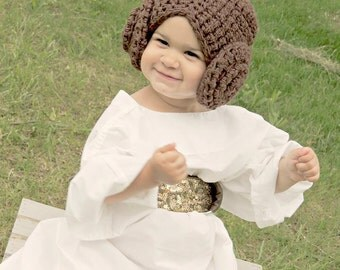 Crocheted Princess Leia Hat. Hand Made Star Wars Wig Hat.