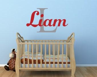 Nursery Name Decal Wall Decal - Baby Boy Nursery - Name Decal - Bedroom Decor Vinyl Wall Decal