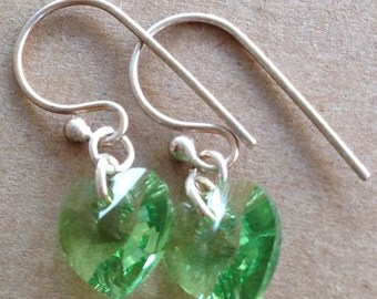 August Birthstone, Peridot Earrings, Birthstone Earrings, Crystal Earrings, Dainty Earrings, Heart Earrings, Swarovski Earrings