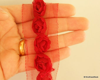 Deep Red Rose One Yard Lace Trims 4.5cm Wide