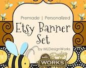 Etsy Banner Set, Premade Etsy Banner, Etsy Banner, Bumblebee Etsy Banner, Bee Etsy Banner Set - 216