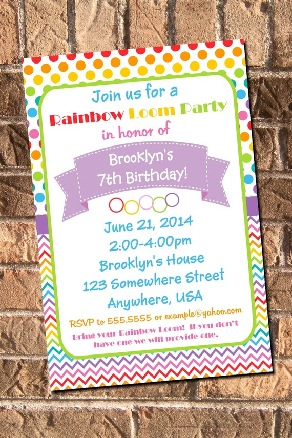 Rainbow Loom Birthday Party Invitation Printable