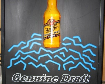 "3D Lighted Bottle And ""Neon Effect"" Sign, Miller Genuine Draft Beer"