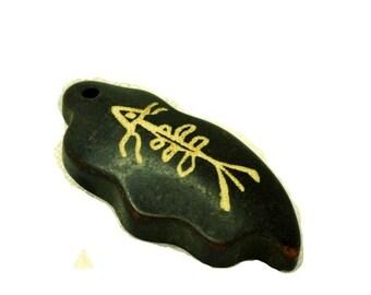Black Leaf Pendant, Polished Stone, Primitve Fish Drawing, Jewelry Making, Cabochon