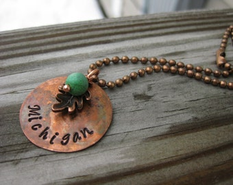 Michigan Hand Stamped Copper Necklace