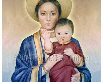Our Lady of LaVang Art Print, The Saint of Vietnam, Virgin  Mary and Child Jesus #4037