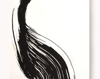 Original abstract art ink drawing -Black and white,wave, wind,nature,wave,modern, minimal,ink dark, movement, art ink, brown,sepia, ink wash