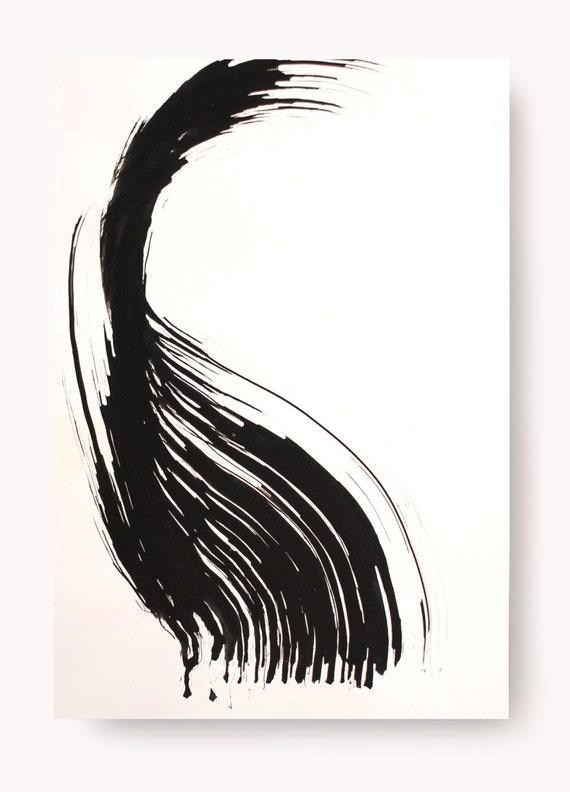 encre originale de l 39 art abstrait de dessin noir et par comart. Black Bedroom Furniture Sets. Home Design Ideas
