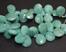 AAA Quality Aqua Amazonite Pear faceted 12x14 to 19x14 mm huge ,7.5 inch Long