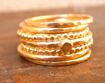 Bold Statement  7 stackable 14k GF wide gold ring 2mm 14K gold nugget -   Hammered  soldered ring made to order