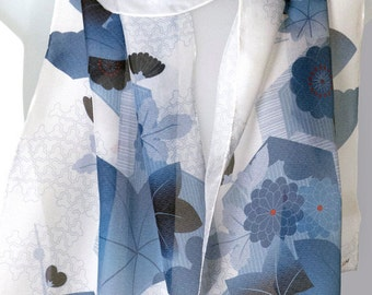 """Japanese Inspired Women's Floral Silk Scarf in Blues, 12"""" x 69"""", by Lorenz Hermsen"""