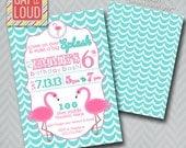 Custom Flamingo Party Invitation (Swim Party)