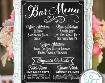 Wedding Bar Menu Chalkboard Sign • Personalized Wedding Menu • Custom Wedding Signage