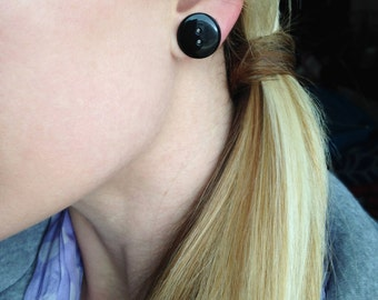 Solid Black Button Earrings