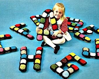 Crochet Alphabet Pattern, Vintage Granny Squares