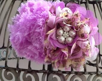 Purple hair clip, purple hair accessory, vintage inspired lavender floral print w/ chiffon puff, girls hair flower, hair clip hair accessory