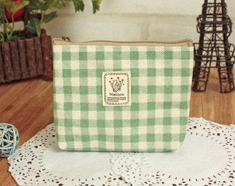 Cotton wallet coin pouch Change wallet purse simple cute - Green Plaid