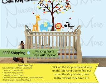 Zebra Decals, Zebra Wall Decals, Wall Stickers, Jungle Stickers for Nursery (Mini Small Tree, Mini SG AnimalsSG CMH) SGMF