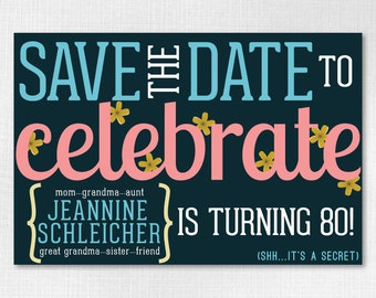 Custom Birthday Save the Date 4x6 Downloadable- Flowery Save the Date // 80th Surprise Birthday