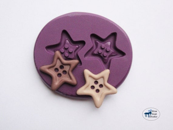 Star Button Mold/Mould - Silicone Mold - Polymer Clay Resin Fondant