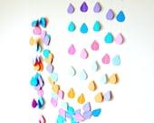 Rainbow Raindrop Garland - Raindrop Paper Garland, Baby Shower, Nursery Decor, party decorations