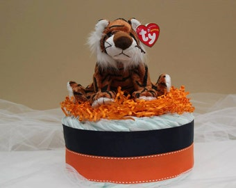 Blue and Orange Diaper Cake with Tiger