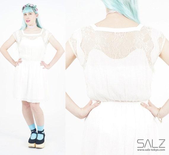 White lace dress, vintage short sleeve dress, summer dress lace, white angelic dress, stretch