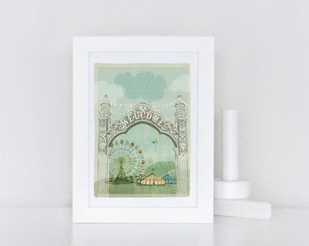 Art Print - Carnival - Green Circus - Children's 5x7 Wall Art