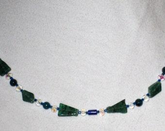 Green and Blue Multigemstone Springtime necklace
