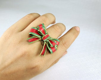 Christmas bow ring ,Adjustable Ring, flowers ring, vintage ring , jewelry
