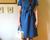 Vintage 1960's Royal Blue Striped Collared Midi Dress (M/L)