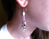 Magenta Zipper Earrings