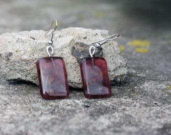 Glass drop earrings, dangle earrings, fused glass, purple, in handmade