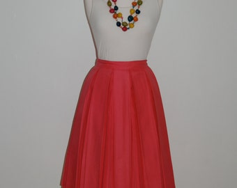 Reserved for Abby -A Classic 1950s Cerise Pink  pleated Vintage Skirt