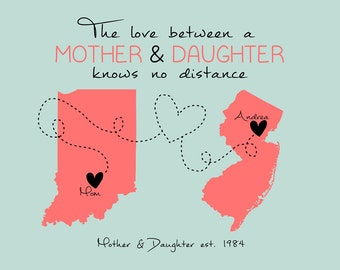 Gift Idea for Mom, Custom Map Art - Personalized Gift for Mothers Day, Grandma, Grandmother, MIL, Long Distance Maps, Family Friends