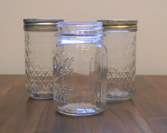 3 Vintage Jars - Ball Perfect Mason with Grippers circa 1930's and 2 Quilted Jelly Jars